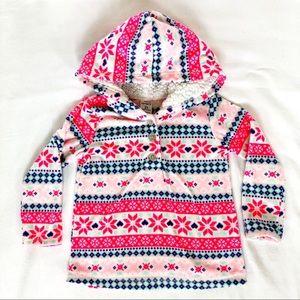 Carter's - Fleece Quarter Button Hooded Sweater